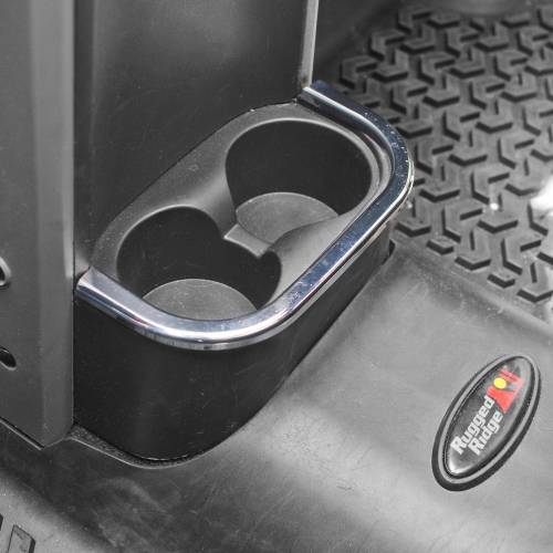 Rugged Ridge - Rear Cup Holder Accent, Chrome; 07-10 Jeep Wrangler JK