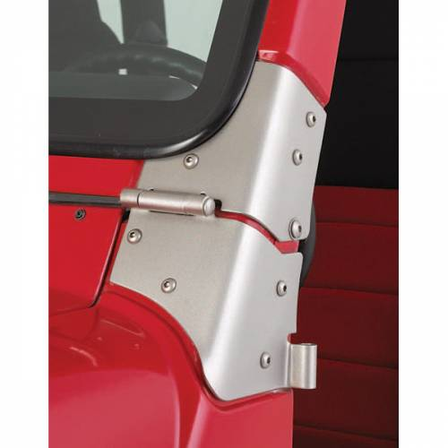 Rugged Ridge - Rugged Ridge Windshield Hinge Kit, Satin Stainless Steel (1997-06) Jeep Wrangler TJ