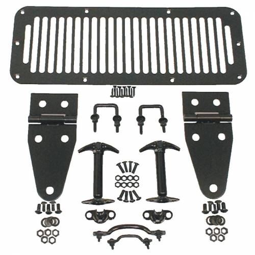 Rugged Ridge - Hood Kit, Black; 76-95 Jeep CJ/Wrangler YJ