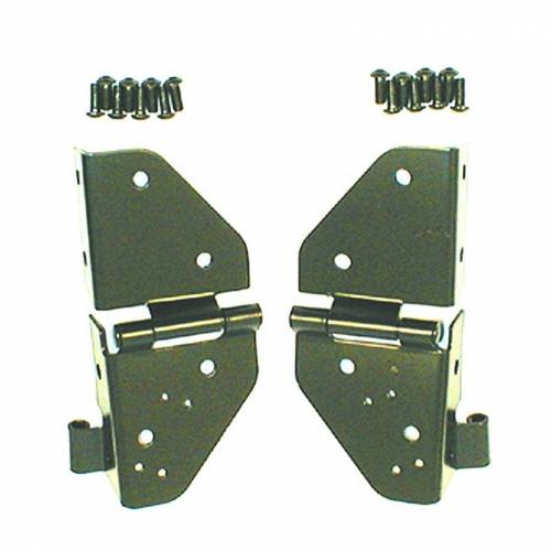 Rugged Ridge - Rugged Ridge Windshield Hinges, Black (1976-86) Jeep CJ/87-95 Jeep Wrangler YJ
