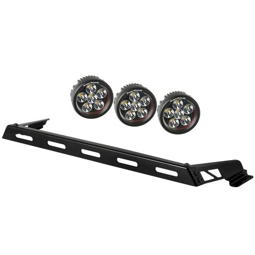 Rugged Ridge - Hood Light Bar Kit, 3 Round LED Lights; 07-15 Jeep Wrangler JK