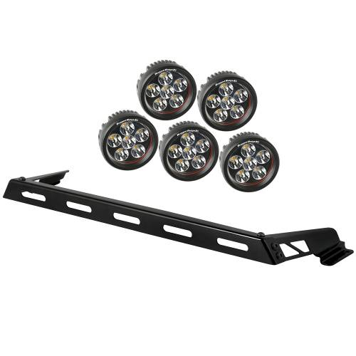 Rugged Ridge - Hood Light Bar Kit, 5 Round LED Lights; 07-15 Jeep Wrangler JK