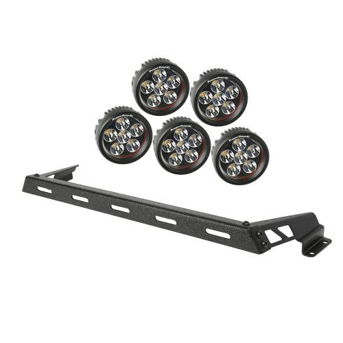 Rugged Ridge - Hood Light Bar Kit, Textured Black, 5 Round LEDs; 07-15 Wrangler JK