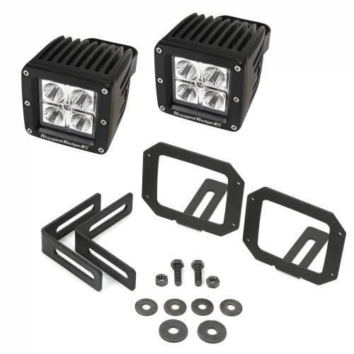 Rugged Ridge - LED Light & Mount Kit, Square; 07-15 Jeep Wrangler JK