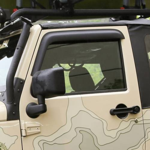 Rugged Ridge - Rugged Ridge Window Visors, Matte Black (2007-15) Jeep Wrangler JK, 2-Door