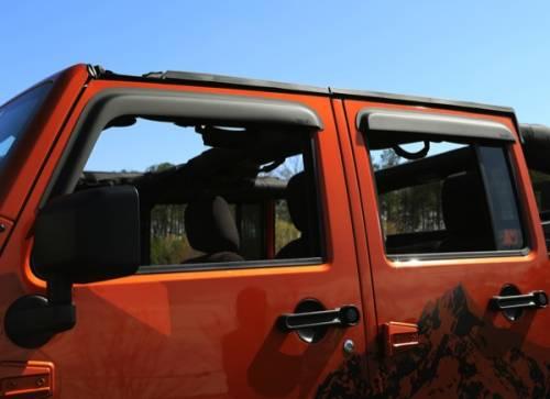 Rugged Ridge - Rugged Ridge Window Visors, Matte Black (2007-15) Jeep Wrangler JK, 4-Door