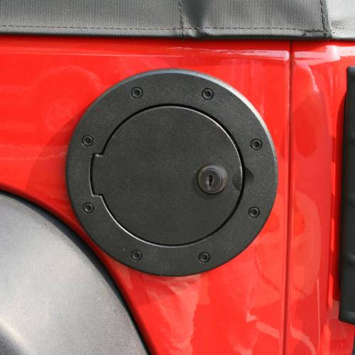 Rugged Ridge - Locking Gas Cap Door, Black Aluminum; 07-15 Jeep Wrangler JK