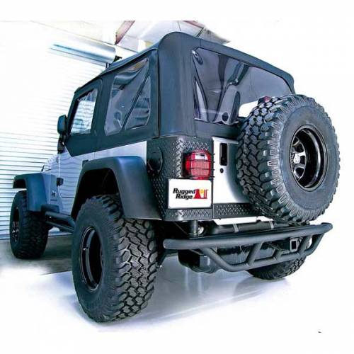 Rugged Ridge - RRC Rear Bumper, 2 Inch Receiver Hitch; 87-06 Jeep Wrangler YJ/TJ