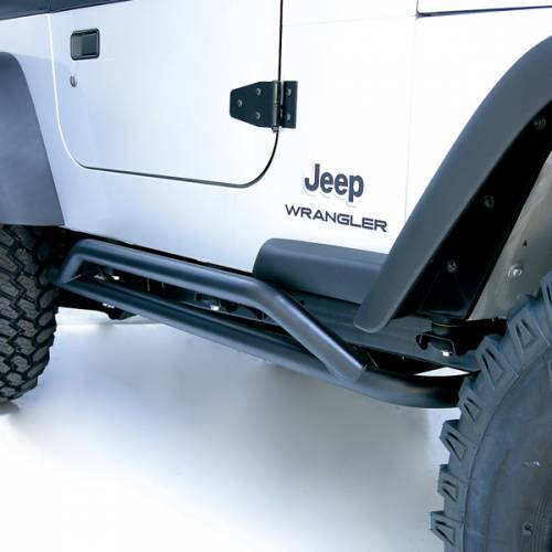 Rugged Ridge - RRC Rocker Guards, Black; 87-06 Jeep Wrangler YJ/TJ