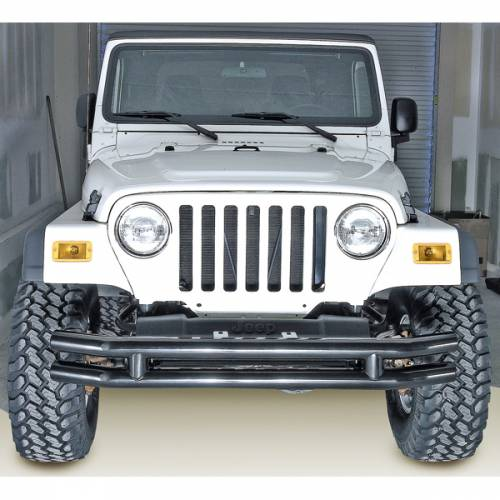 Rugged Ridge - Rugged Ridge Double Tube Front Bumper, 3 Inch (1976-06) Jeep CJ/Wrangler YJ/TJ