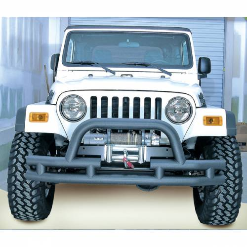 Rugged Ridge - Rugged Ridge Double Tube Front Winch Bumper w/ Hoop, 3 Inch (1976-06) Jeep Models