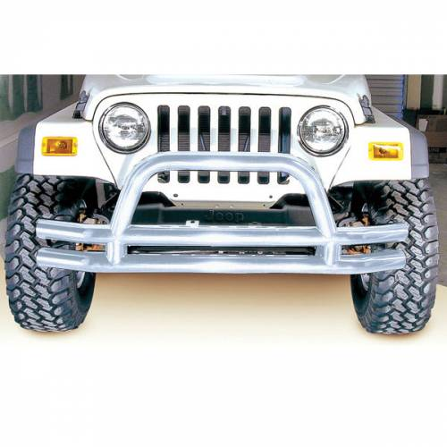 Rugged Ridge - Rugged Ridge Double Tube Front Bumper, 3 Inch, Stainless Steel (1976-06) Jeep Models