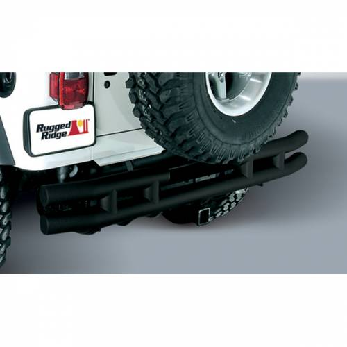 Rugged Ridge - Rugged Ridge Double Tube Rear Bumper with Hitch, 3 Inch (1955-86) Jeep CJ Models