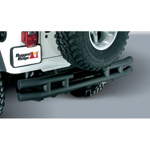 Rugged Ridge - Rugged Ridge Double Tube Rear Bumper with Hitch, 3 Inch (1987-06) Jeep Wrangler YJ/TJ