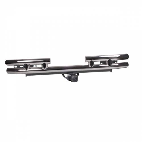 Rugged Ridge - Rugged Ridge Tube Rear Bumper w/ Hitch, 3 Inch (1987-06) Jeep Wrangler YJ/TJ