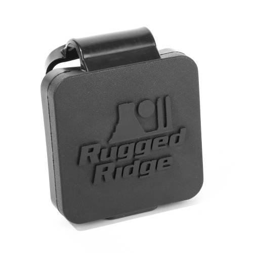 Rugged Ridge - Rugged Ridge 2 Inch Receiver Hitch Plug, Black, Rugged Ridge Logo