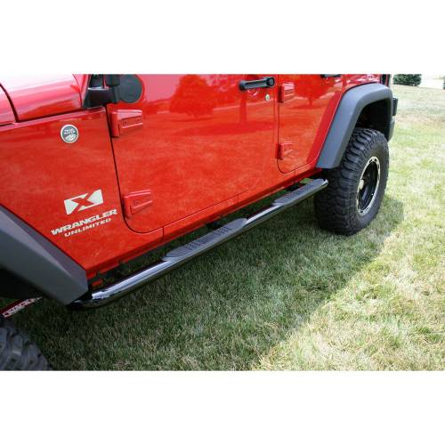 Rugged Ridge - Round Tube Side Steps, 3 Inch, Black; 07-15 Jeep Wrangler Unlimited JK