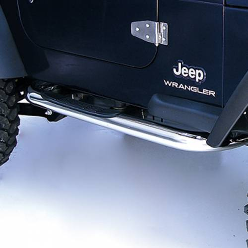 Rugged Ridge - Round Tube Side Steps, 3 Inch, Stainless Steel; 97-06 Jeep Wrangler TJ