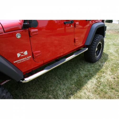Rugged Ridge - Round Tube Side Steps, 3 Inch, Stainless; 07-15 Wrangler Unlimited JK