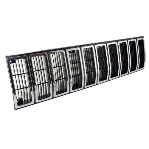 Omix-ADA - Grille Insert, Black and Chrome; 84-87 Jeep Cherokee XJ