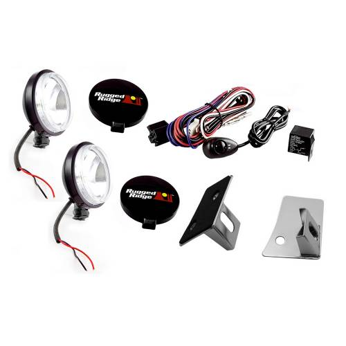 Rugged Ridge - Rugged Ridge Windshield Light Mount Kit (2007-15) Jeep Wrangler JK