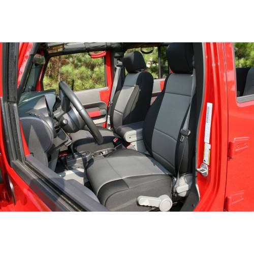 Rugged Ridge - Neoprene Front Seat Covers, Black/Gray; 07-10 Jeep Wrangler JK