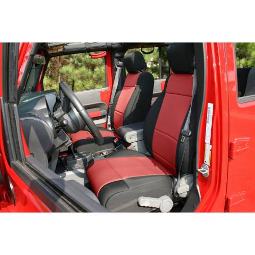 Rugged Ridge - Neoprene Front Seat Covers, Black/Red; 07-10 Jeep Wrangler JK