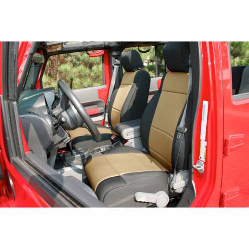 Rugged Ridge - Neoprene Front Seat Covers, Black/Tan; 11-15 Jeep Wrangler JK