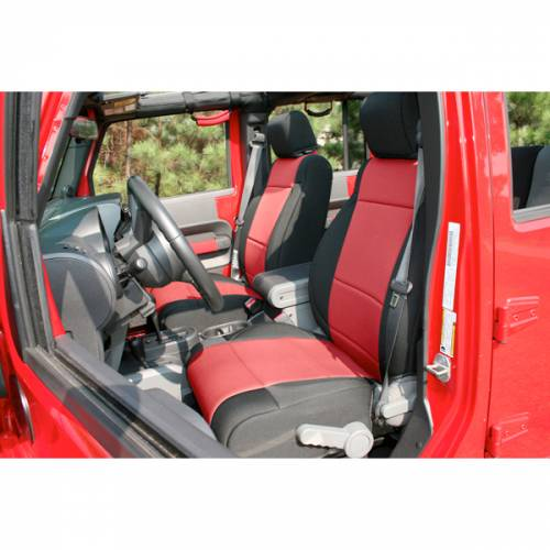 Rugged Ridge - Neoprene Front Seat Covers, Black/Red; 11-15 Jeep Wrangler