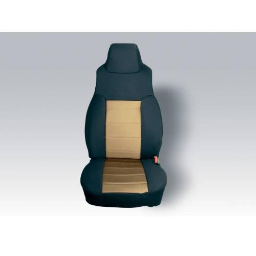 Rugged Ridge - Rugged Ridge Fabric Front Seat Covers, Black/Tan (1997-02) Jeep Wrangler TJ