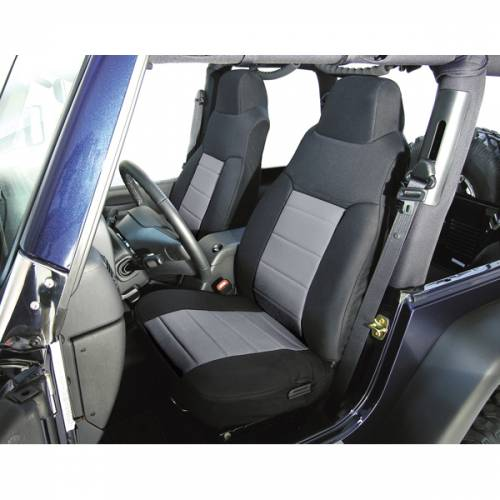Rugged Ridge - Rugged Ridge Fabric Front Seat Covers, Gray (1976-90) Jeep CJ/Wrangler YJ