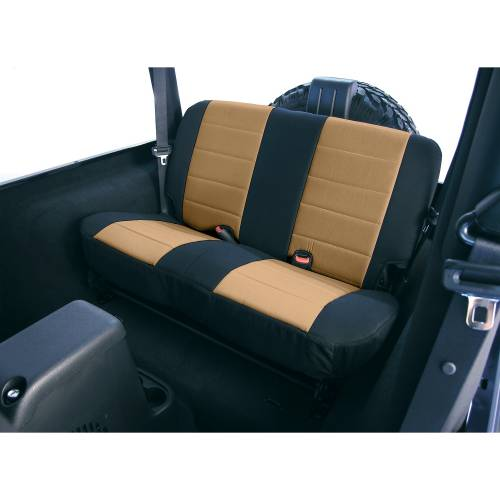 Rugged Ridge - Neoprene Rear Seat Covers, Tan; 80-95 Jeep CJ/Wrangler YJ