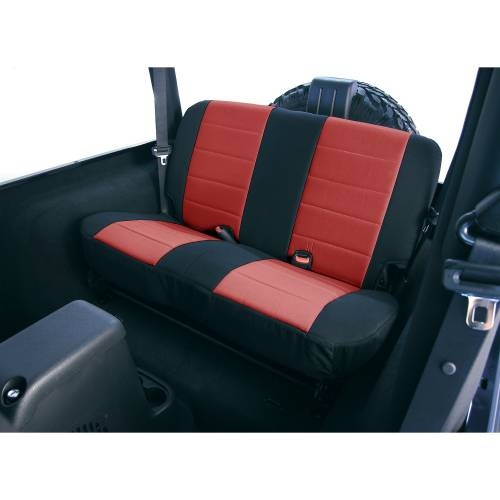 Rugged Ridge - Neoprene Rear Seat Covers, Red; 03-06 Jeep Wrangler TJ