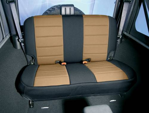Rugged Ridge - Neoprene Rear Seat Cover, Black and Tan; 07-15 Jeep Wrangler JK