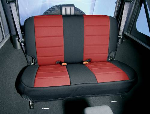 Rugged Ridge - Neoprene Rear Seat Cover, Black/Red; 07-15 Jeep Wrangler JK