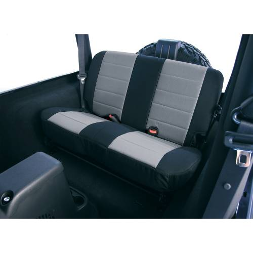 Rugged Ridge - Rugged Ridge Fabric Rear Seat Covers, Gray (1980-95) Jeep CJ/Wrangler YJ