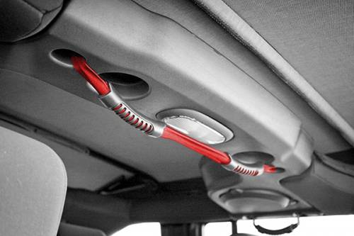 Rugged Ridge - Rear Dual Grab Strap, Red; 07-15 Jeep Wrangler Unlimited JK