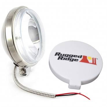 Rugged Ridge - Rugge Ridge 6 Inch Slim Halogen Fog Light Kit, Stainless Steel Housing
