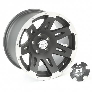 Rugged Ridge - Rugged Ridge XHD Wheel/Center Cap, 17x9, Black with Machined Lip (2007-15) Wrangler JK