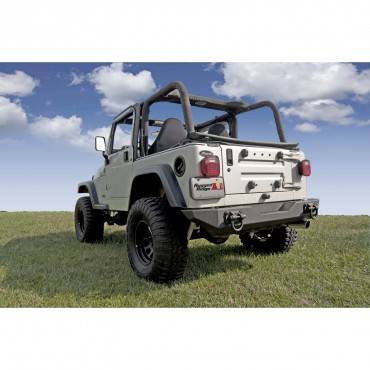 Rugged Ridge - Rugged Ridge XHD Rear Bumper (1976-06) Jeep CJ/Wrangler YJ/TJ