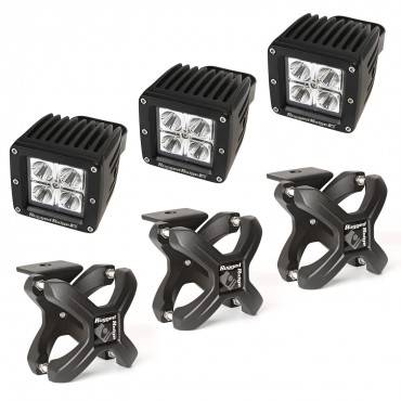 Rugged Ridge - Rugged Ridge X-Clamp and Square LED Light Kit, Large, Textured Black, 3 Pieces