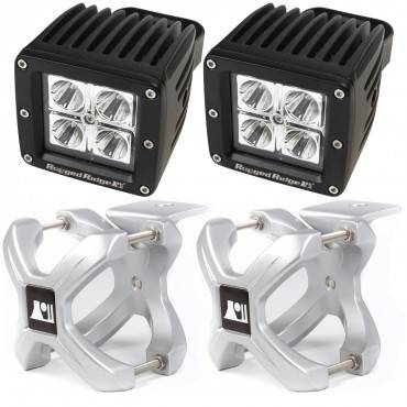 Rugged Ridge - Rugged Ridge X-Clamp and Square LED Light Kit, Large, Silver, 2 Pieces