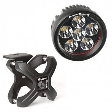 Rugged Ridge - Rugged Ridge X-Clamp and Round LED Light Kit, Large, Black, 1 Piece