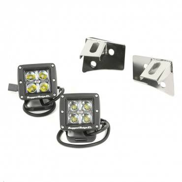 Rugged Ridge - Rugged Ridge Windshield Bracket LED Kit, Black, Square (2007-15) Jeep Wrangler JK