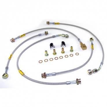 Rugged Ridge - Rugged Ridge Brake Hose Kit, Stainless Steel, Drum (1993-98) Jeep Grand Cherokee ZJ