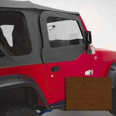 Rugged Ridge - Rugged Ridge Upper Soft Door Kit, Dark Tan (1997-06) Jeep Wrangler TJ