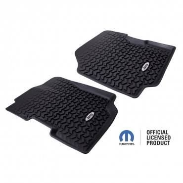 Rugged Ridge - Rugged Ridge Floor Liners, Front, Black, Jeep Logo (1976-95) CJ7/CJ8/Wrangler YJ