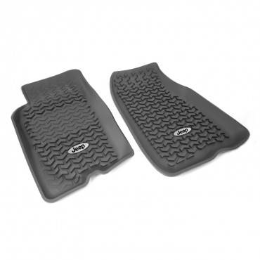 Rugged Ridge - Rugged Ridge Floor Liners, Front, Black, Jeep Logo (1999-04) Jeep Grand Cherokee WJ