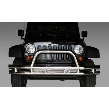 Rugged Ridge - Rugged Ridge Tube Front Bumper, 3 Inch, Stainless Steel (2007-15) Jeep Wrangler JK