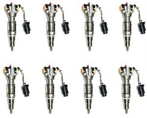 Diamond T Enterprises - Diamond T Fuel Injectors, Ford (2003-10) 6.0L Power Stroke, set of 8 Hybrid 300cc, 100% over nozzle, 7mm Plunger